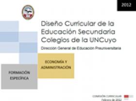 DISEÑO CURRICULAR: FORMACIÓN ESPECÍFICA: Economía y Administración