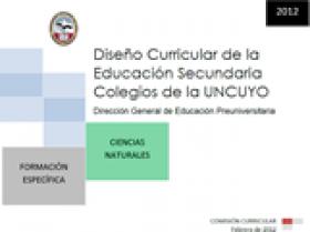 DISEÑO CURRICULAR: FORMACIÓN ESPECÍFICA: Ciencias Naturales