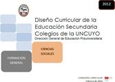 DISEÑO CURRICULAR: FORMACIÓN GENERAL: Ciencias Sociales