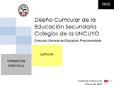 DISEÑO CURRICULAR: FORMACIÓN ESPECÍFICA: Lenguas